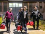 Los presos del 'procés' Jordi Cuixart, Josep Rull, Jordi Sànchez y Oriol Junqueras saliendo de la cárcel de Lledoners, en una imagen de archivo.