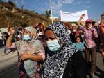 Protestas en Lesbos tras el incendio que destrozó el campamento de Moria.