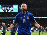 Leonardo Bonucci celebra su gol en la final de la Eurocopa 2020