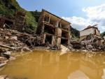 Vista general de las casas destruidas tras la crecida del río Ahr, en Mayschoss, en el distrito de Ahrweiler, Alemania, el 22 de julio de 2021.