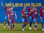 Memphis Depay celebra un gol con el FC Barcelona.