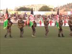 Tropas afganas durante la ceremonia de inauguración de la Afghan Premier League