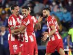 Celebración de Luis Suárez tras uno de sus dos goles ante el Getafe.