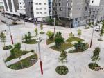 Plaza del nuevo eje verde creado entre las calles Almogàvers y Zamora, en el distrito de Sant Martí.