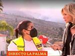 La periodista Susanna Griso sin mascarilla en La Palma-